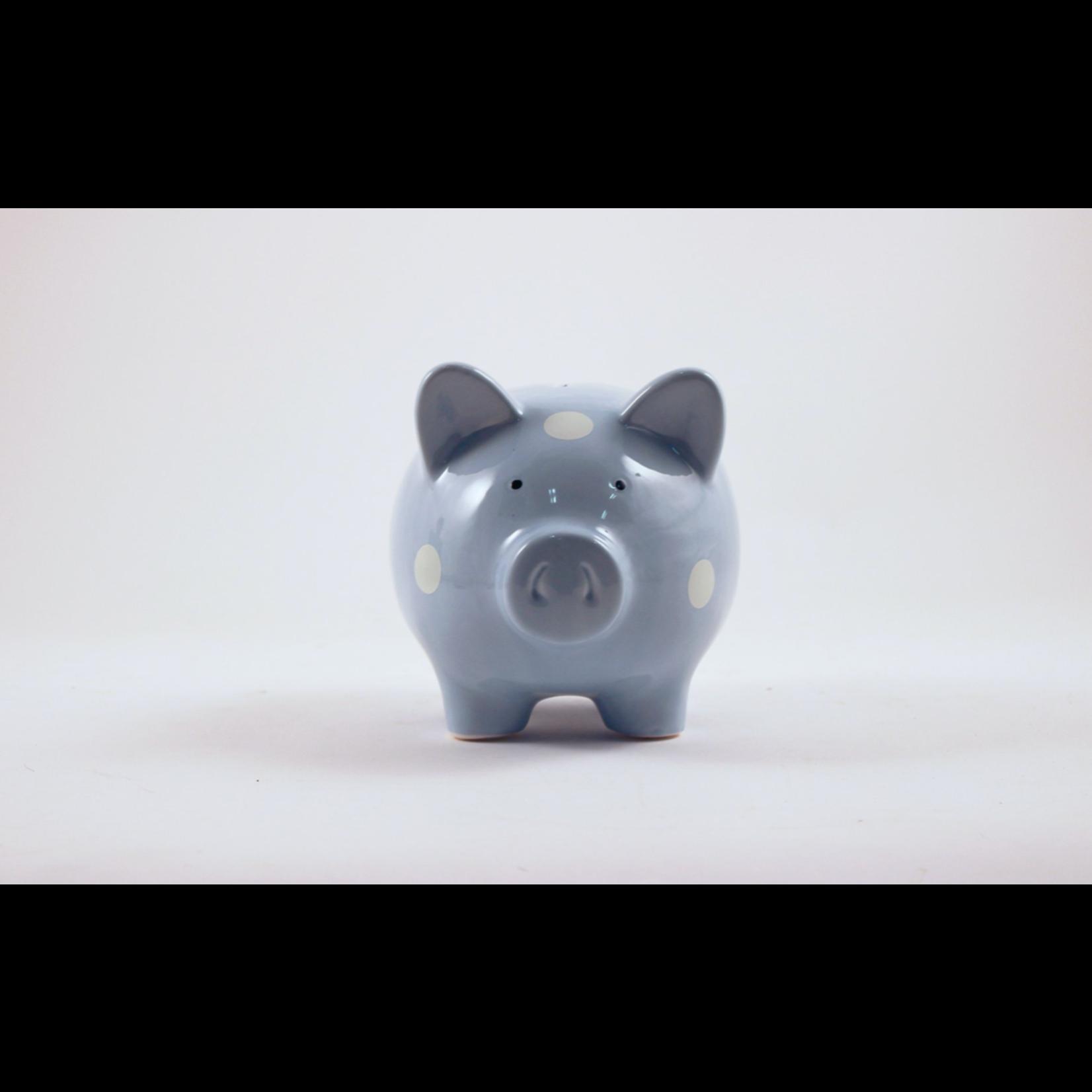 Blue Piggy Bank W/Polka Dots