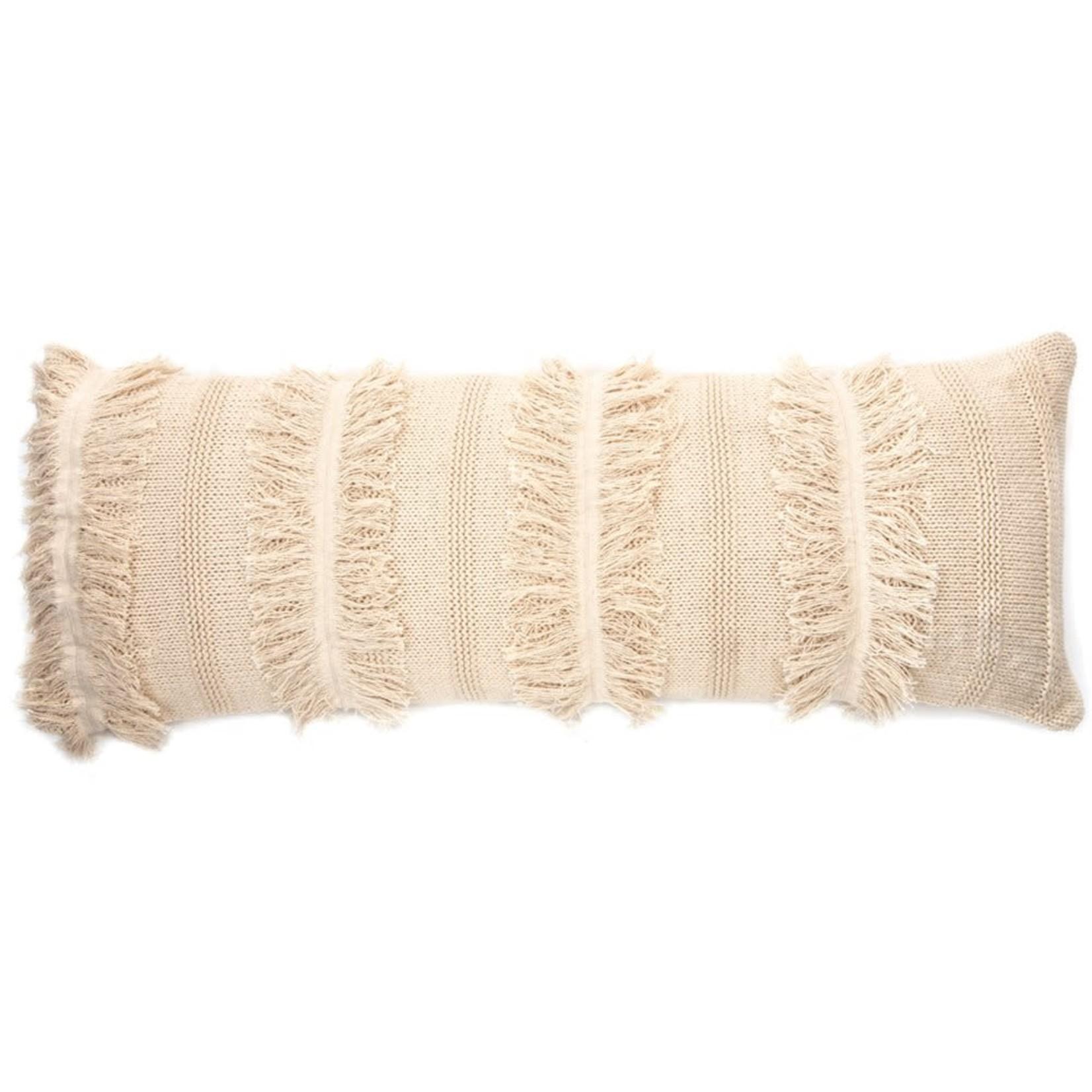 Gnocchi Cream Knit Cushion W/Fringe