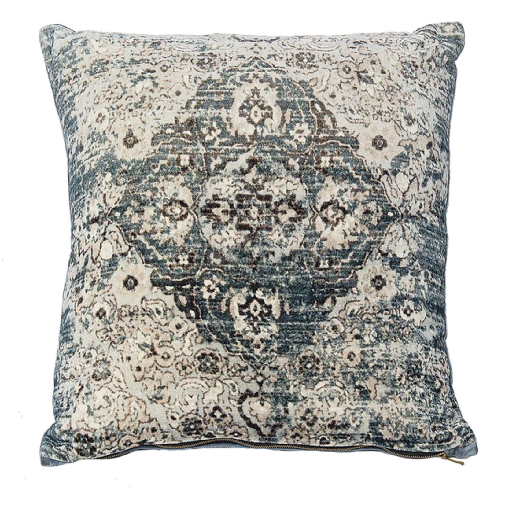 Velvet Faded Blue Medallion Pillow