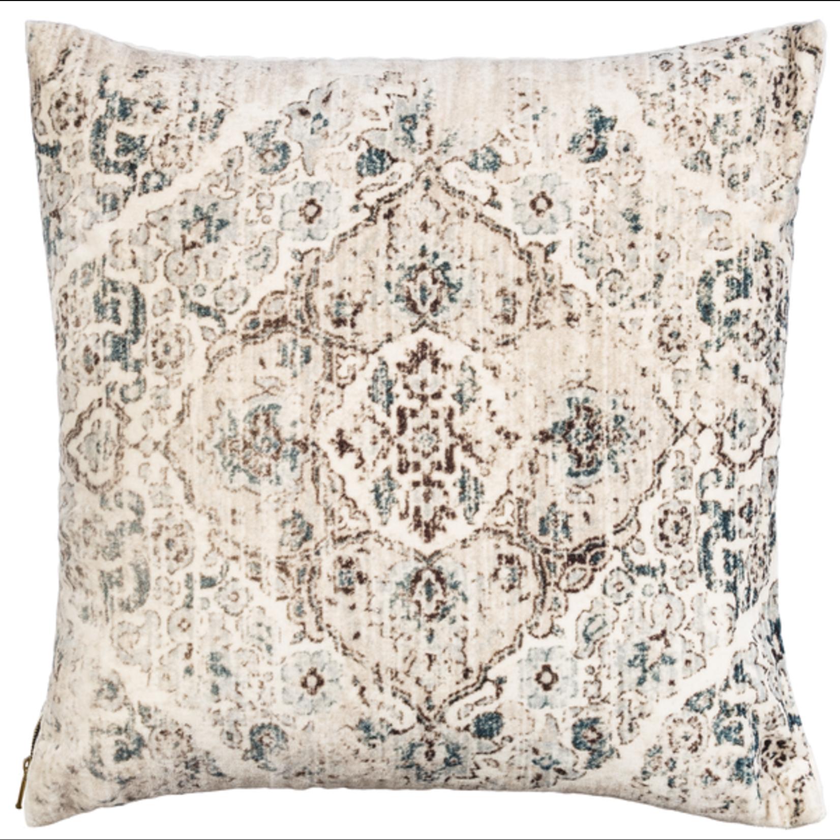 Velvet Faded Ecru Medallion Pillow