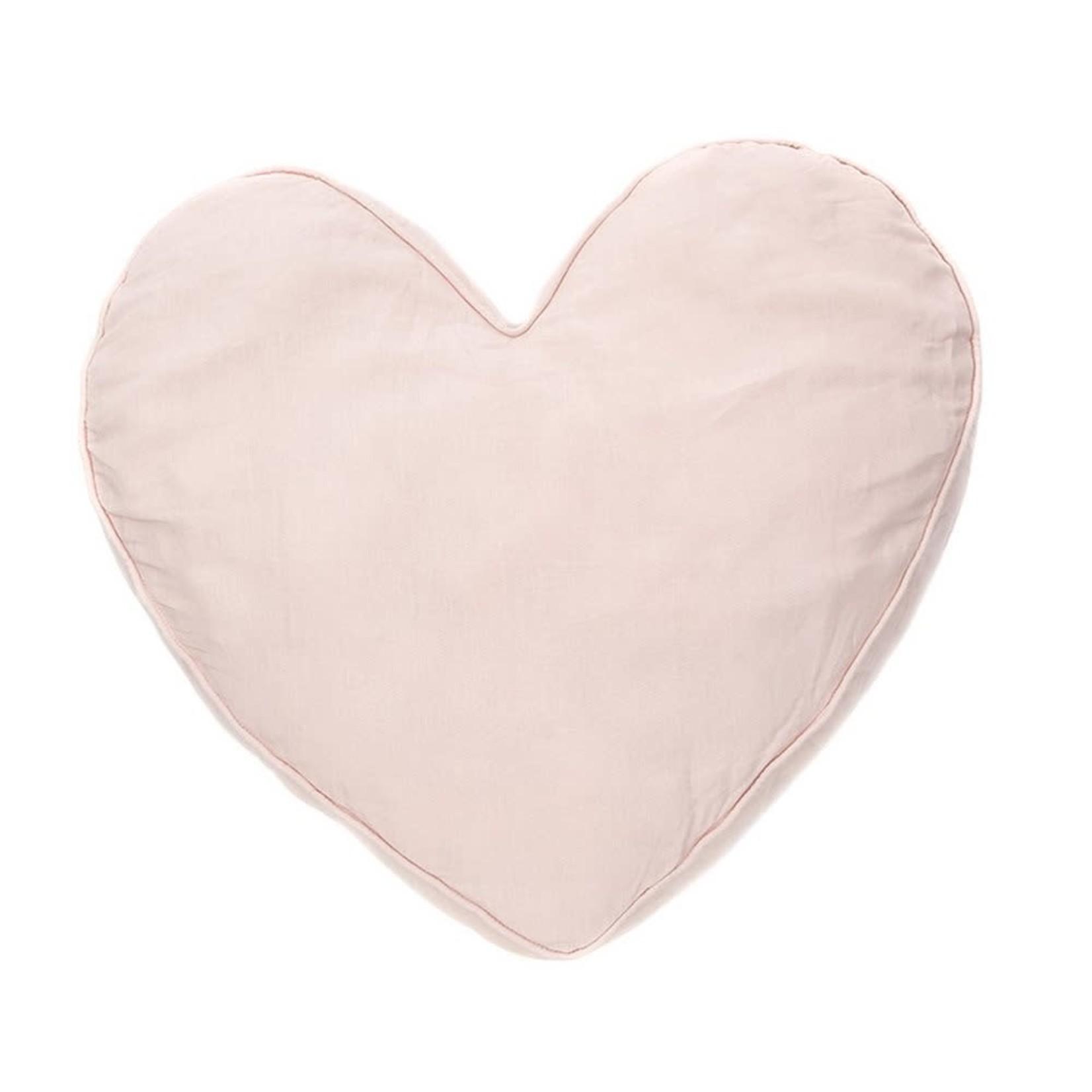 Linen Pink Heart Cushion