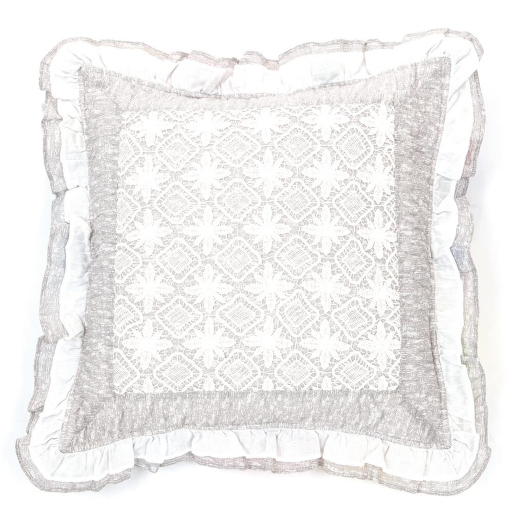 Lace Grey & White Cushion Cover