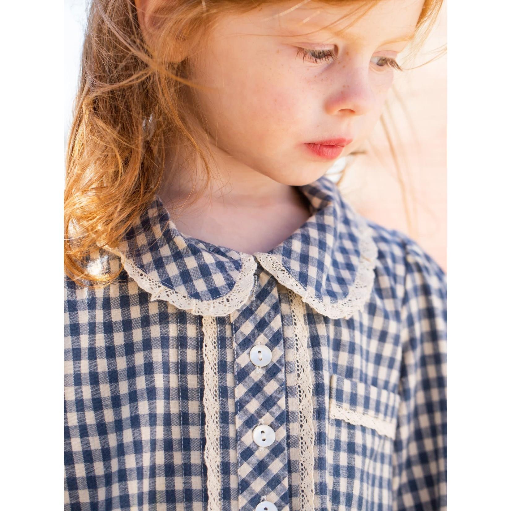 April Cornell Tanya Kids Dress - Teal/Ecru