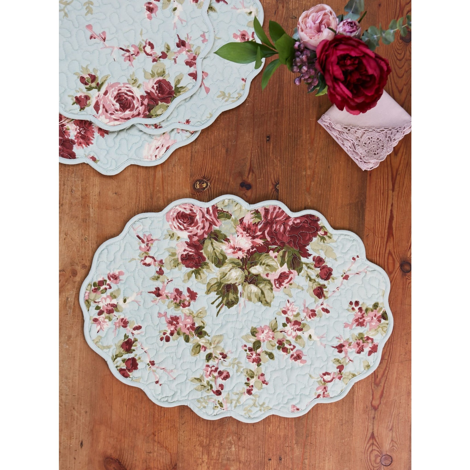 April Cornell Cottage Rose Quilted Mat - Soft Mint