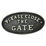 Cast Iron Close The Gate Sign