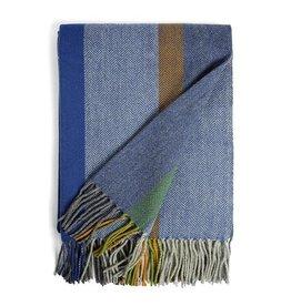 Burel Multicolour throw teal 100% merino wool