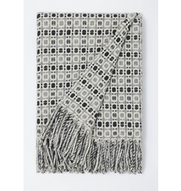 Burel Vintage throw light grey-teal 100% merino wool