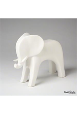 Global Views Ceramic Elephant - Matte White