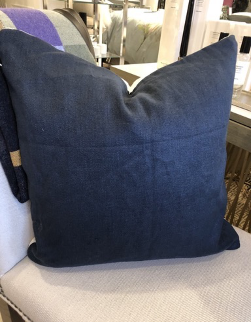 Navy Linen / White Chenille  Lumbar Cushion 20x20 with Feather Filler