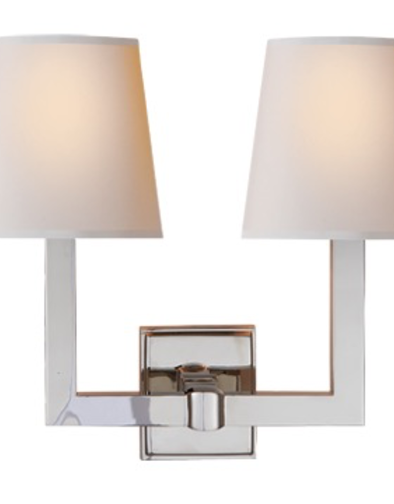 Visual Comfort Square Tube Double Sconce in Polished Nickel with Natural Paper Shades