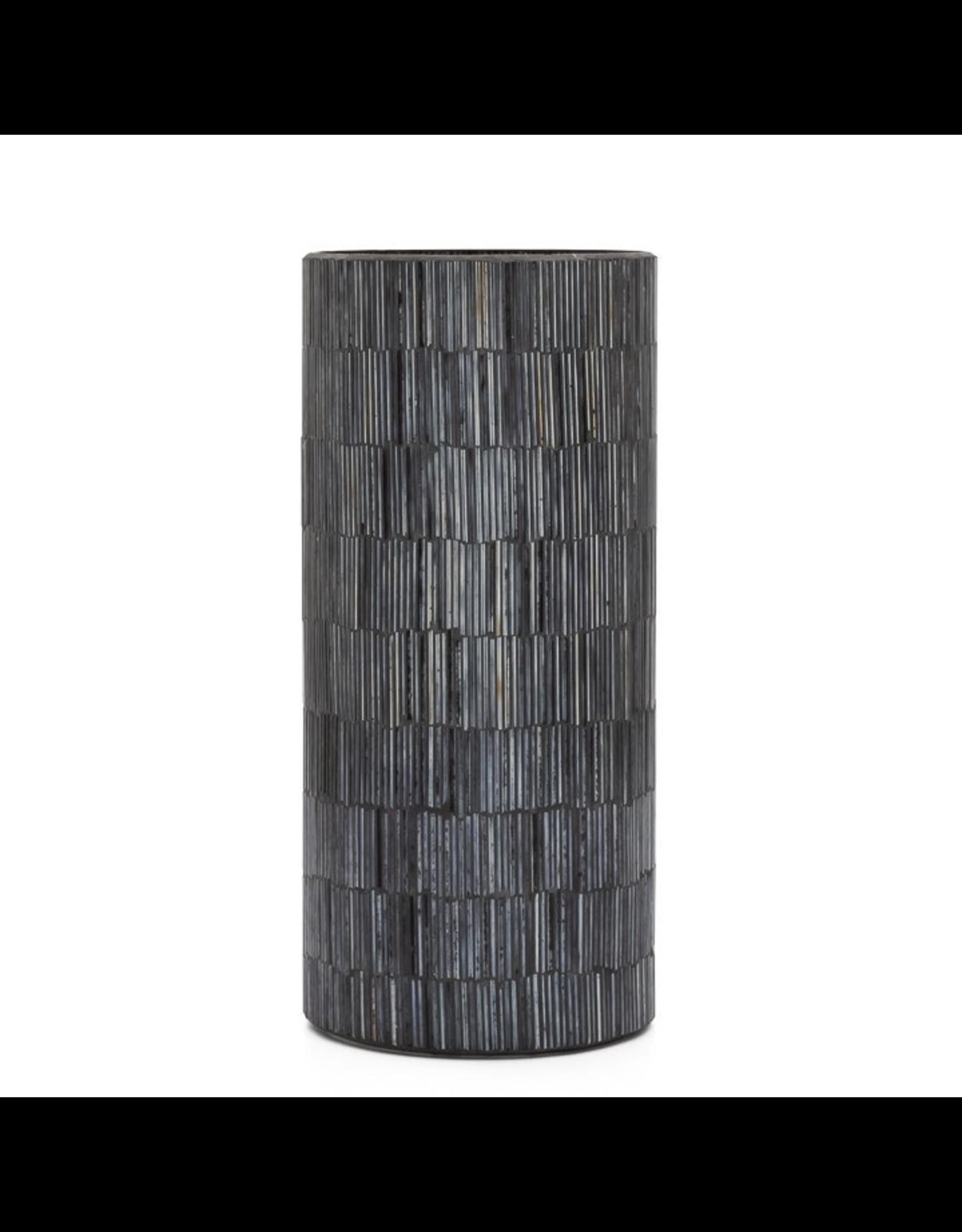 "Torre & Tagus Black Bamboo Mosaic 9"" Vase"