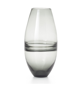 "Torre & Tagus Saturn Ring 14""h Glass Bullet Vase - Smoke"