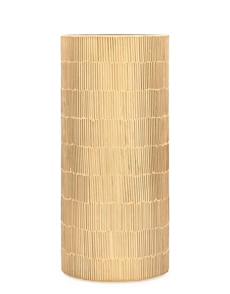 """Torre & Tagus Bamboo Glass Mosaic 4d x 9""""Cylinder Vase - Gold"""