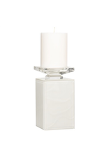 Torre & Tagus Pearl Ripple Beveled Glass Square Column Pillar Candle Holder