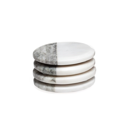 Torre & Tagus Two Tone Marble Round Coasters 4 Piece Set