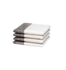 Torre & Tagus Two Tone Marble Square Coasters 4 Piece Set