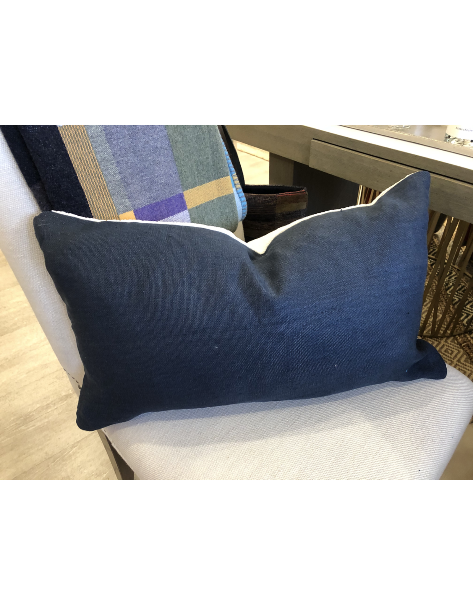 Bespoke Navy Linen / White Chenille  Lumbar Cushion 14 X 24 with Feather Filler