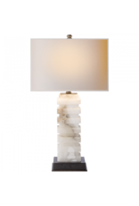 Visual Comfort VC Rectangle Alabaster Stacked Table Lamp with Natural Paper Shade