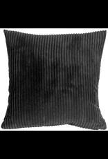 Pillow Decor Corduroy Dark Grey 22X22 Cushion with Featherr Filler