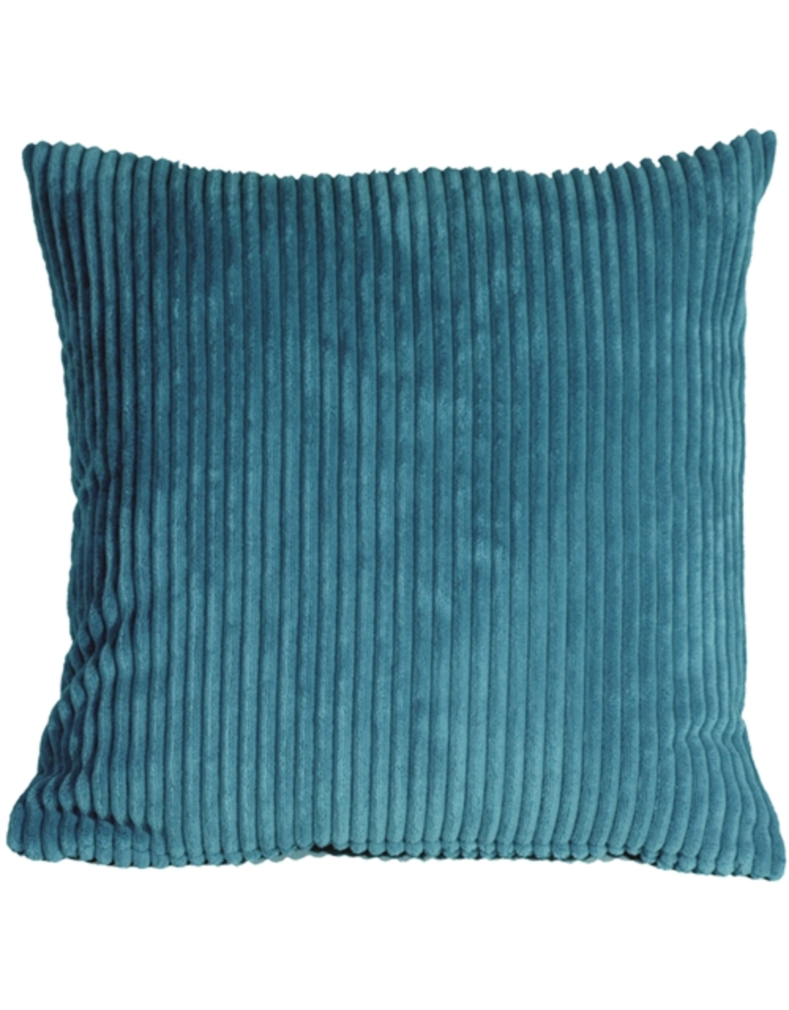 Pillow Decor Corduroy Marine Blue 18X18 Cushion with Feather Filler