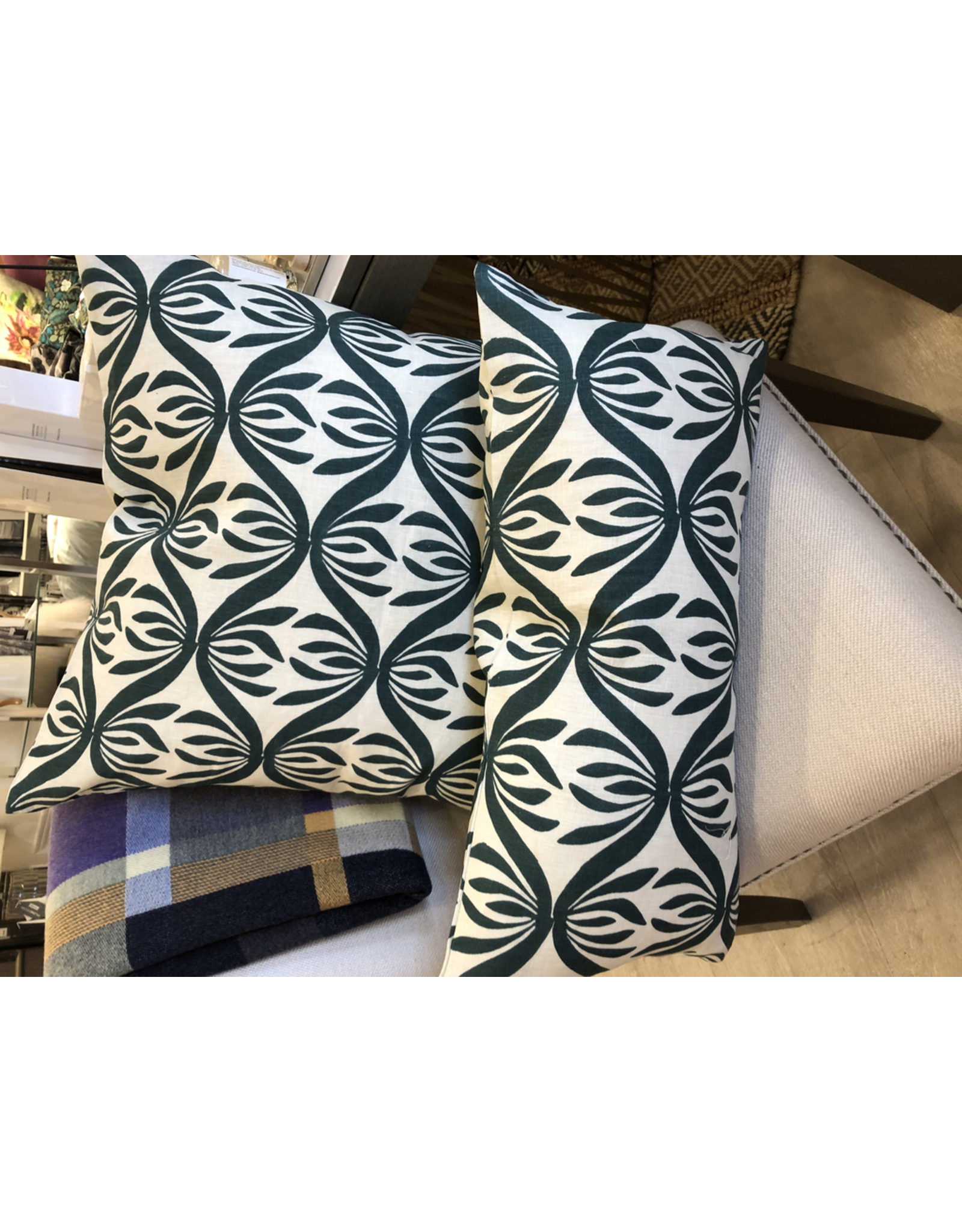 Bespoke Green and Cream Twist 14 x 24  Lumbar Cushion with Feather Filler