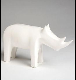 Global Views Ceramic Rhino - Matte White