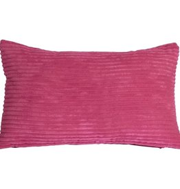 Pillow Decor Wide Wale Corduroy 22x22 Magenta Pink Throw Pillow with Feather Filler