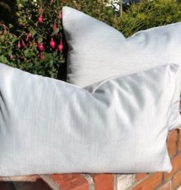 Ice Blue Rippled Velvet  cushion 14 x 20 with feather filler