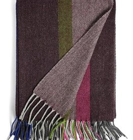 Burel Multicolour throw bordeaux 100% merino wool