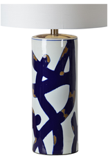 renwill Cobalt Table Lamp - Ceramic Blue, White, Gold Finish - Off-White Cotton Shade