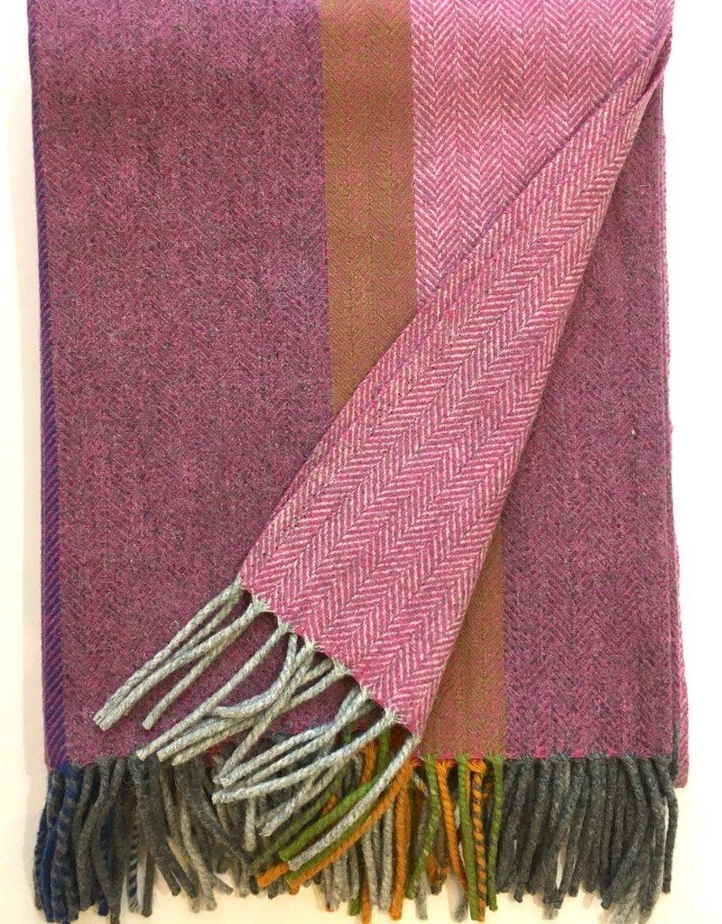 Burel Multicolour throw orange 100% merino wool