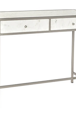 Dovetail Amory Nickel and Marble Console