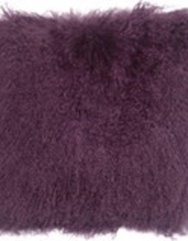 Pillow Decor Purple Mongolian Sheepskin 18x18 Cushion
