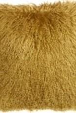 Pillow Decor Soft Gold Mongolian Sheepskin 18x18 Cushion