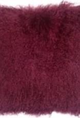 Pillow Decor Wine Mongolian Sheepskin 18x18 Cushion