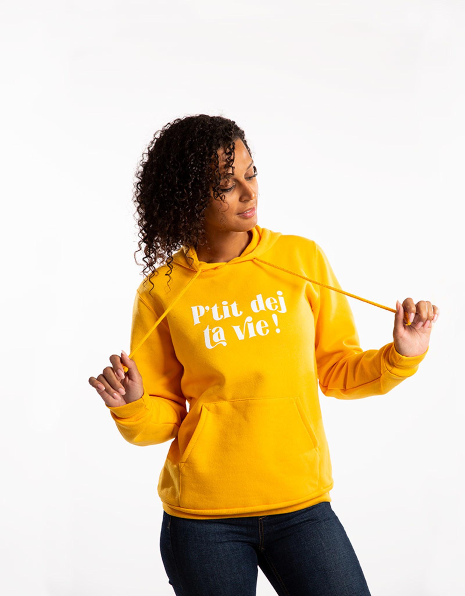 Hoodie – P'tit dej ta vie ! – Yellow
