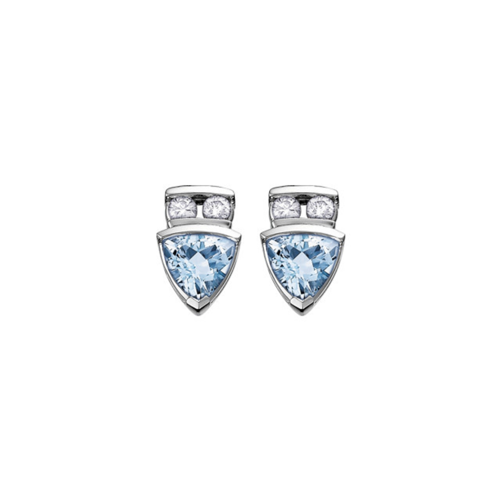 Aquamarine & Diamond Earrings 0.10CT