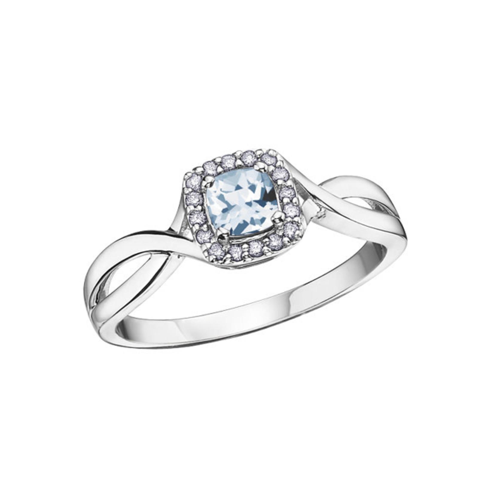 Aquamarine and Diamond Ring 0.20 ct. T.W.