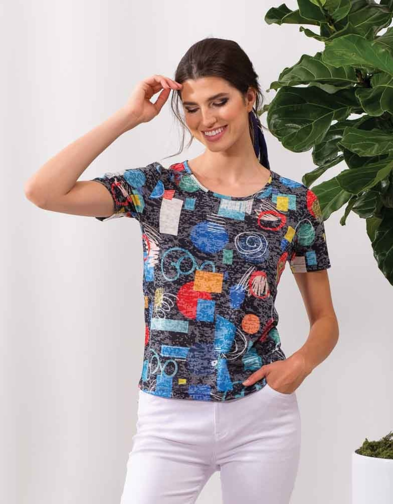 ESINC A37197 Navy Printed Top