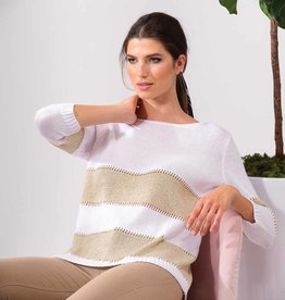 ESINC A37260 Fancy White Stripe Sweater