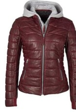 MAURITIUS Robin Oxred Hooded Short Leather Jacket