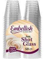 EMBELLISH 50 PLASTIC SHOT GLASSES 1 OZ