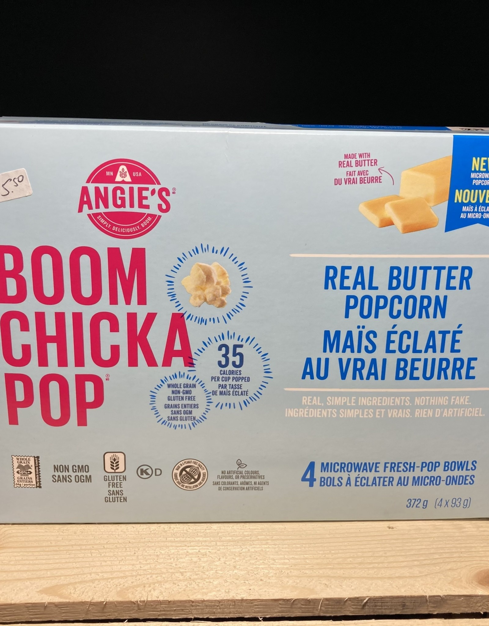 Angies BOOMCHICKAPOP Angies BOOMCHICKAPOP - Microwave Popcorn, Real Butter (372g)