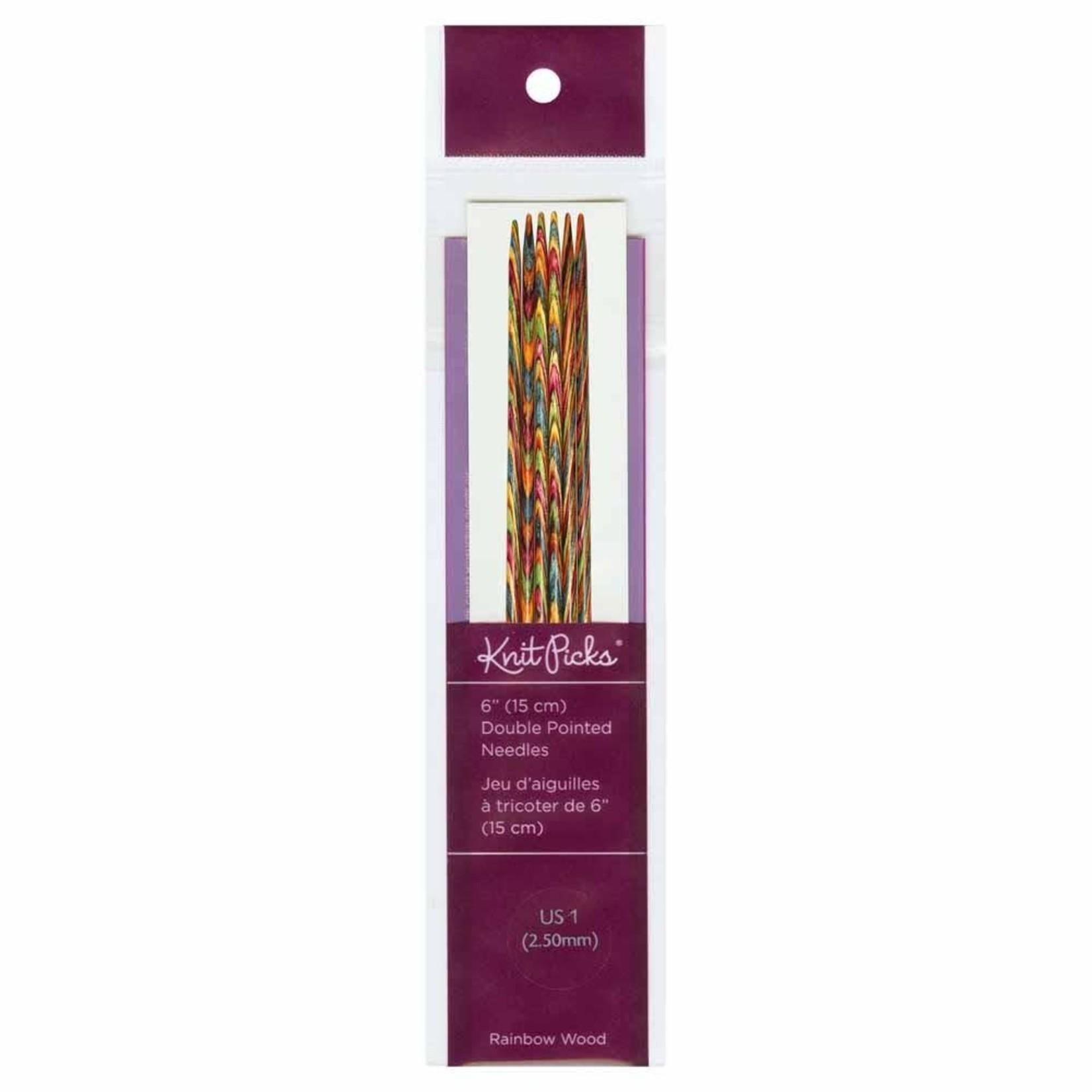 "Knit Picks KNIT PICKS Rainbow Wood Double Point Knitting Needles 15cm (6"")"