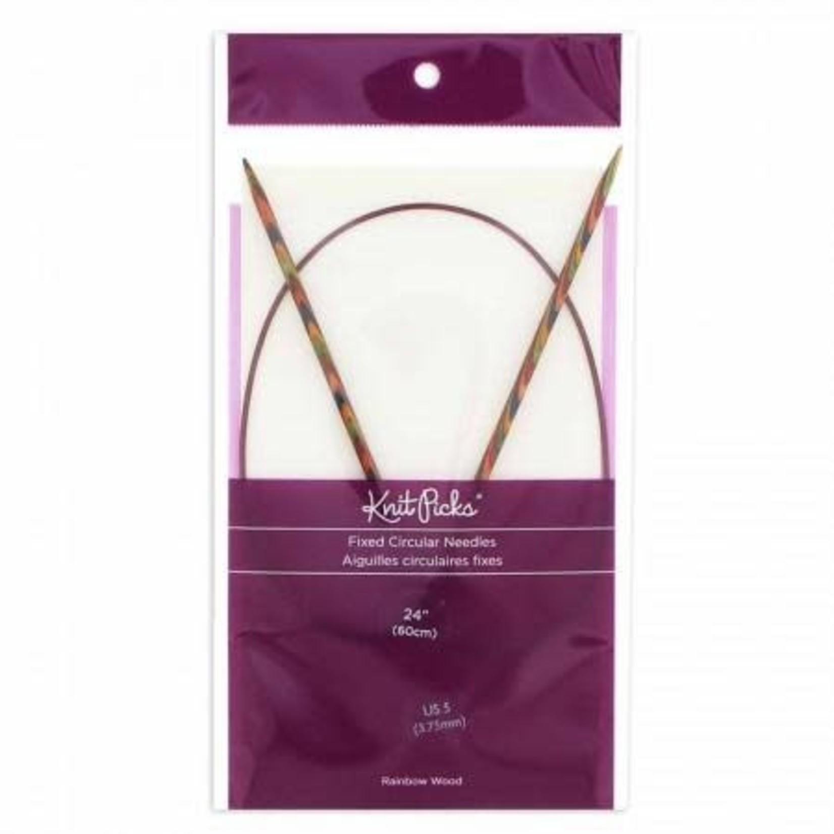 "Knit Picks KNIT PICKS Rainbow Wood Circular Knitting Needles  60cm (24"")"