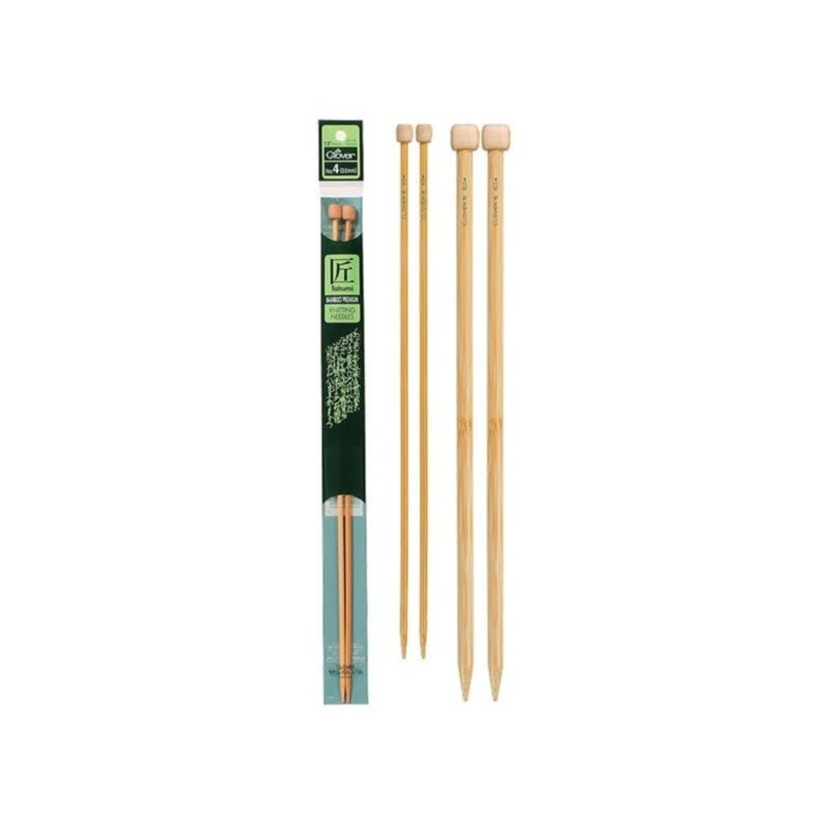 Clover Takumi Bamboo Single Point 23cm (9″) Knitting Needles by Clover