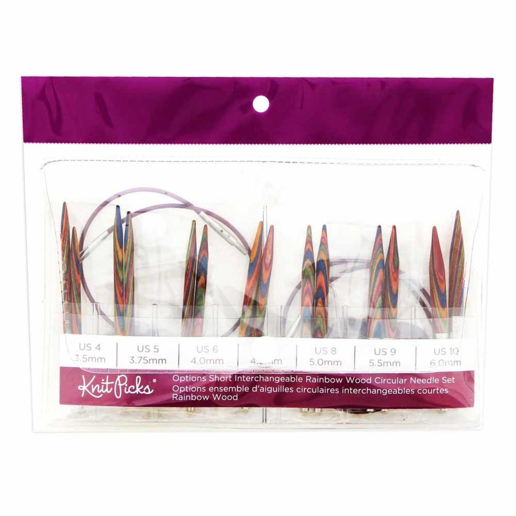 Knit Picks KNIT PICKS Rainbow Wood Options Short Interchangeable Circular Needle Set