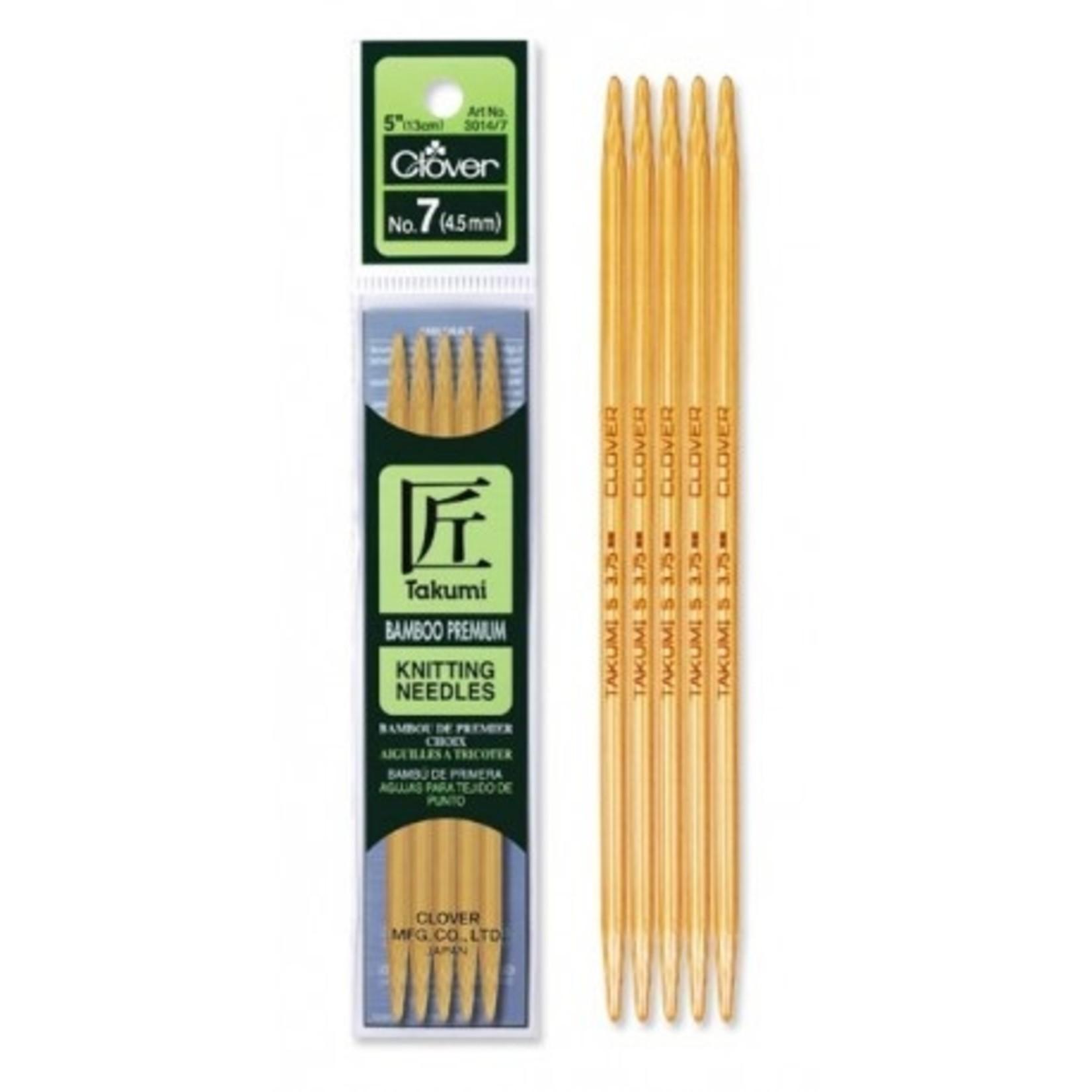 """Takumi Takumi Bamboo Double Point 13cm (5"""") Knitting Needles by Clover"""