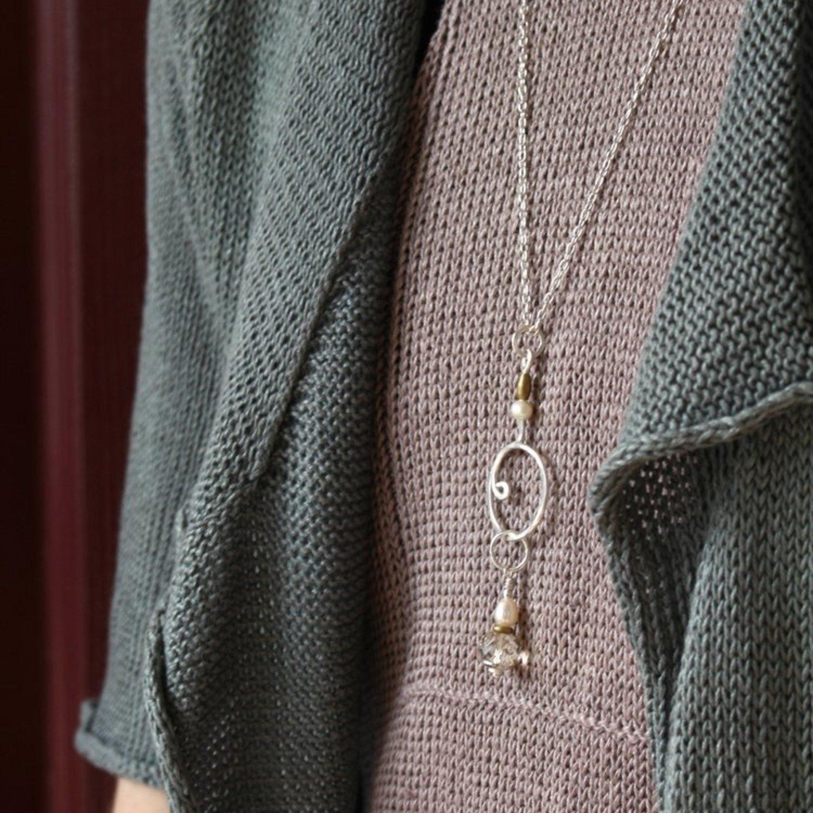 Wool & Wire Stitch Marker Necklace (Silver) by Wool & Wire