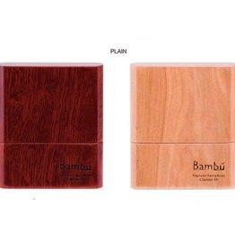 Bambu Bambu Hand-Hade Wooden Reed Case, Plain Wood Finish